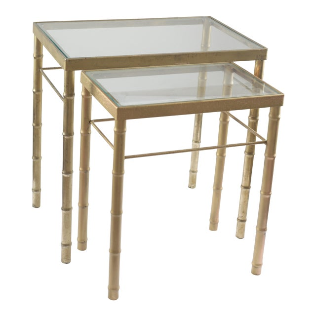 Faux Bamboo Brass & Glass Nesting Tables - Pair - Image 1 of 8