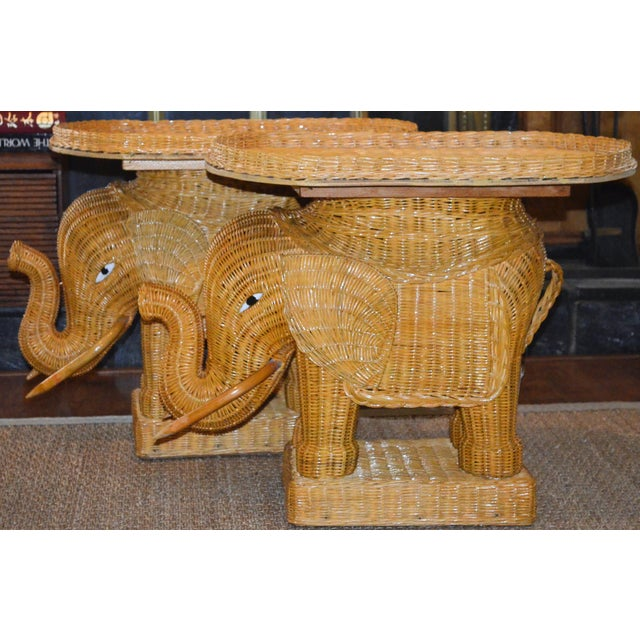 Boho Chic Wicker Rattan Elephant Tray Tables - a Pair For Sale - Image 3 of 7