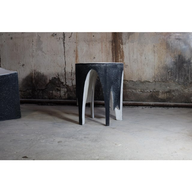 Contemporary Cast Resin 'Corridor' Side Table in Black and White Finish by Zachary A. Design For Sale - Image 3 of 7