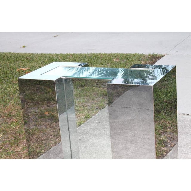 Chrome Milo Baughman Style Mirrored Chrome Dining Table Base For Sale - Image 7 of 12