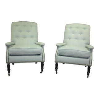 Scalamandre Furniture Club Chairs- A Pair For Sale