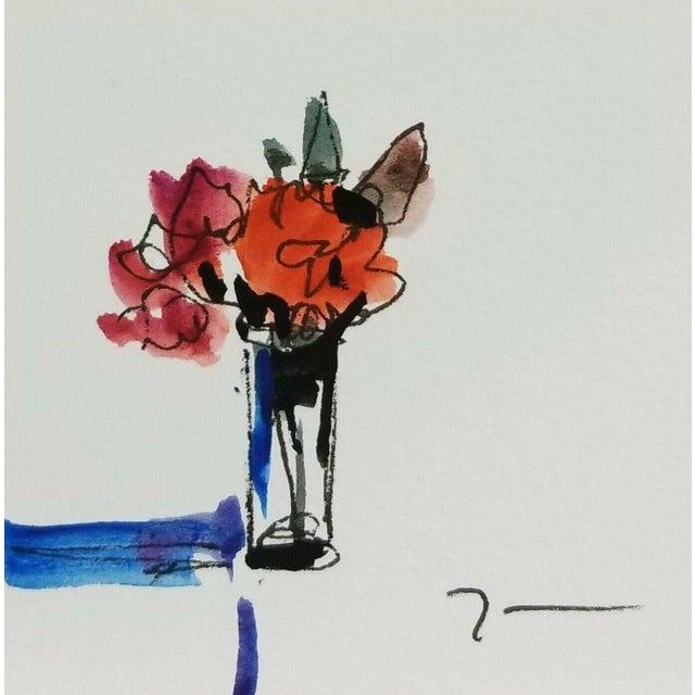 "Jose Trujillo Original Watercolor Painting - Wall Art Flowers - 3x3"" For Sale"
