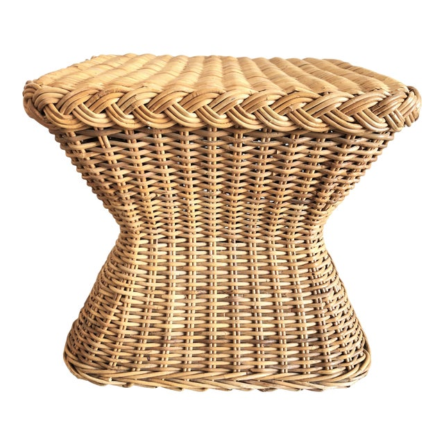 1960s Mid-Century Rattan Side Table For Sale