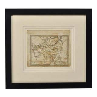 Antique Map of Asia, Hand Colored, Framed For Sale