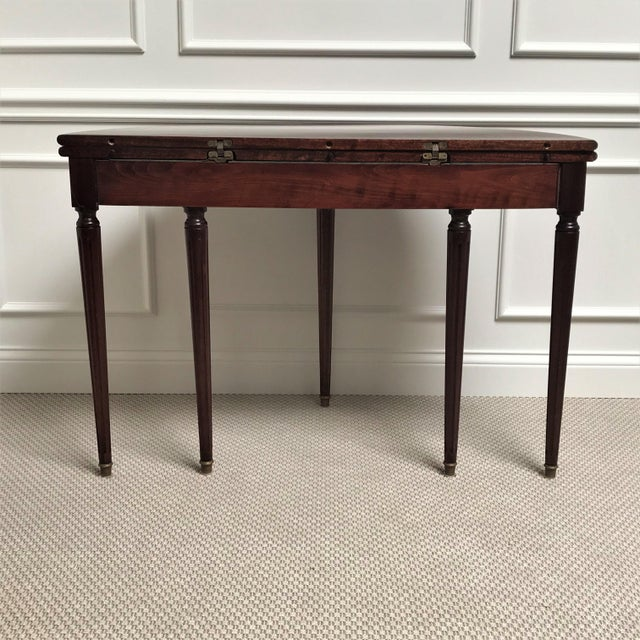 19th Century Louis XVI Revival Mahogany & Brass Demi Lune Console Table For Sale - Image 4 of 13