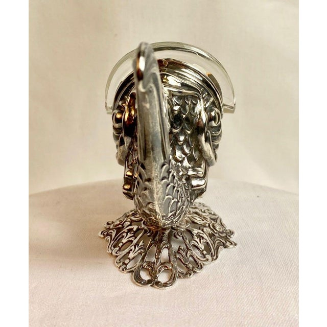 Gothic Sterling Silver Fish Salt Cellar With Liner and Spoon For Sale - Image 3 of 11