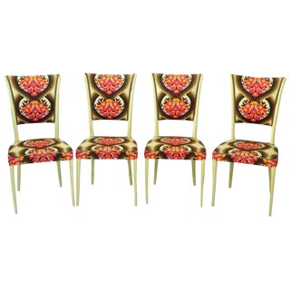 20th Century Italian Vintage Design Set of Four Yellow Chairs For Sale