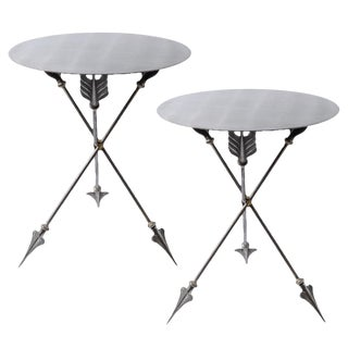 Italian Campaign Brushed Steel Arrow Side Tables, A-Pair For Sale