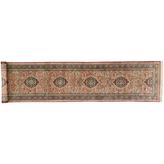 Vintage Persian Qum Silk Runner With Romantic French Rococo Style - 2'9 X 13'2 For Sale - Image 10 of 10