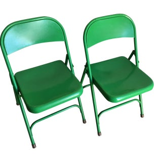 Vintage Industrial Metal Foldings Chairs - A Pair For Sale