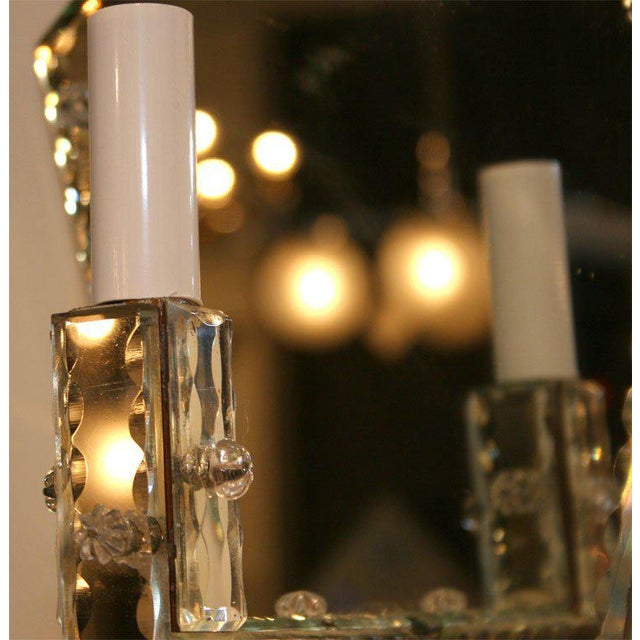 Pair of 1940's Art Deco Mirrored Pentagon Sconces For Sale - Image 4 of 6