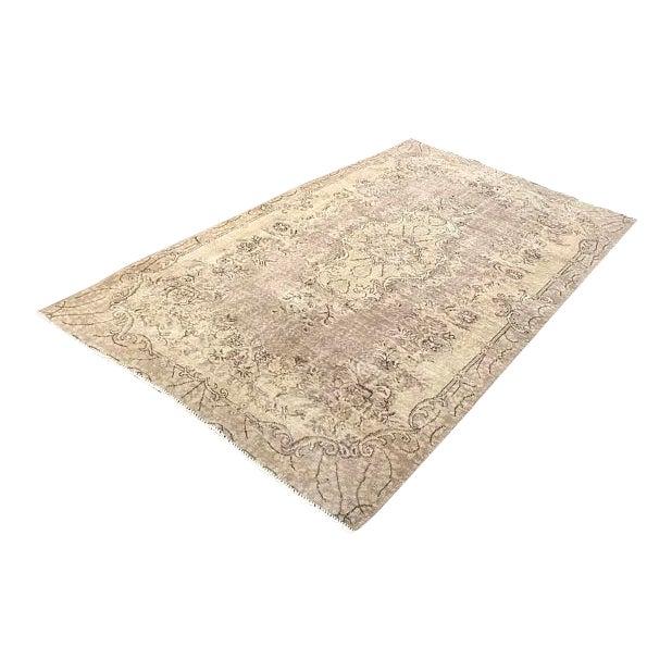 Floor Overdyed Beige Rug - 5′6″ × 9′1″ For Sale