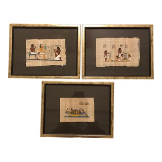 Framed Egyptian Papyrus - Set of 3 For Sale