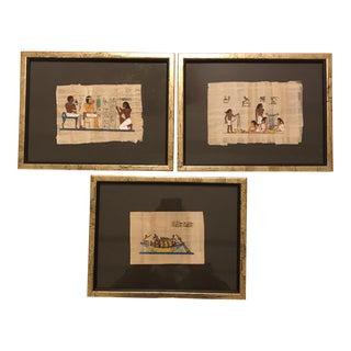Framed Egyptian Papyrus - Set of 3