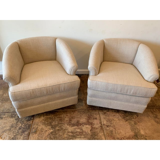 Textile 1950s Vintage Curve Back Natural Linen Swivel Chairs- A Pair For Sale - Image 7 of 7