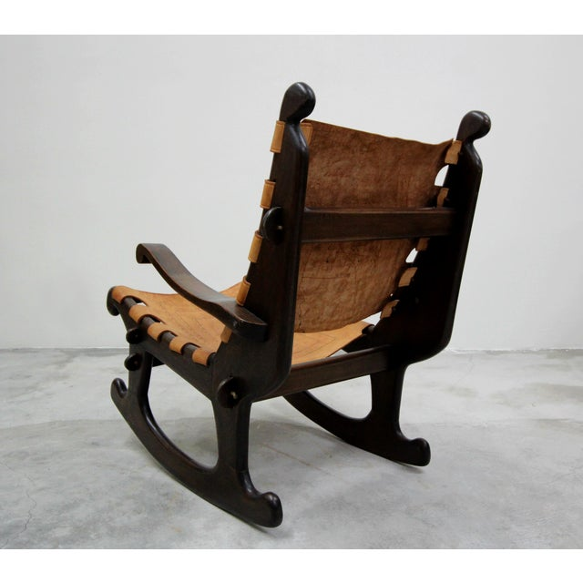 Boho Chic Primitive Style Leather and Wood Rocking Chair Made in Ecuador by Angel Pazmino For Sale - Image 3 of 6