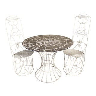 1960s John Risley Iron Rod Patio Table Set- 3 Pieces For Sale