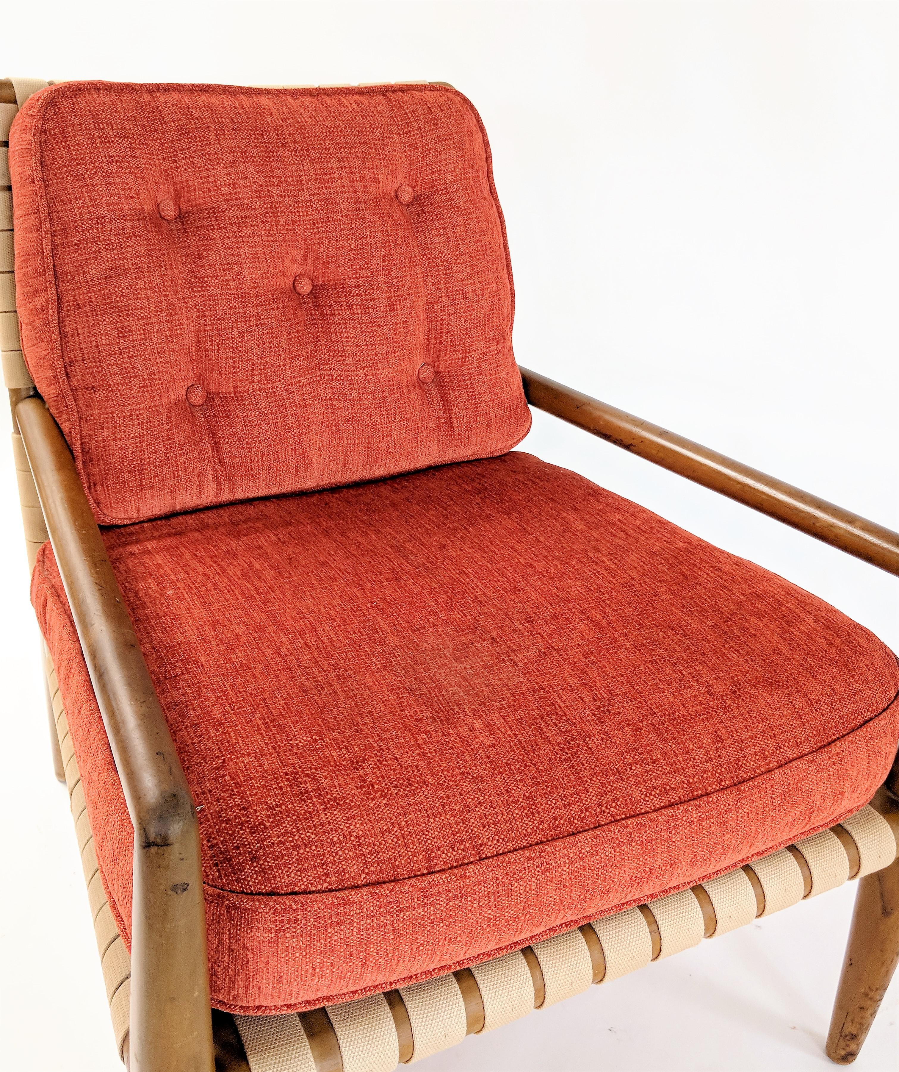 1950s 1950s Mid Century Modern T. H. Robsjohn Gibbings Web Strap Chair For  Sale   Image