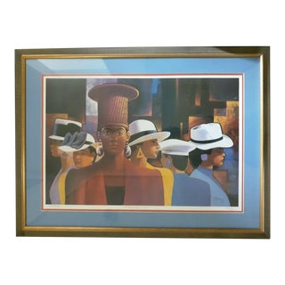 """1990s """"A Preponderance of Hats"""" Postmodern Figurative Print by Cal Massey, Framed For Sale"""