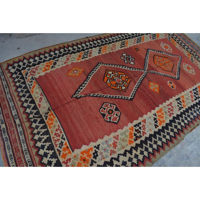 This beautiful Vintage Kilim will add a stunning design accent to your home. This is made by 100% wool and tightly hand...