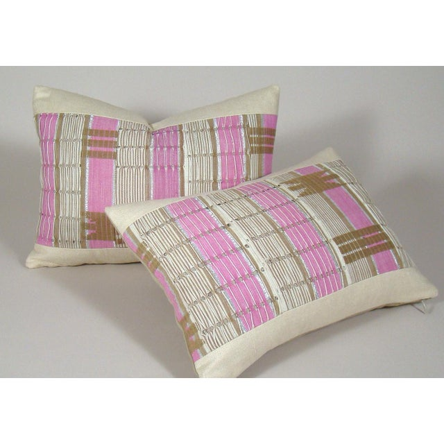 Pink African Boho Chic Handwoven Aso Oke Khaki and Pink Cotton Pillow Cover For Sale - Image 8 of 11