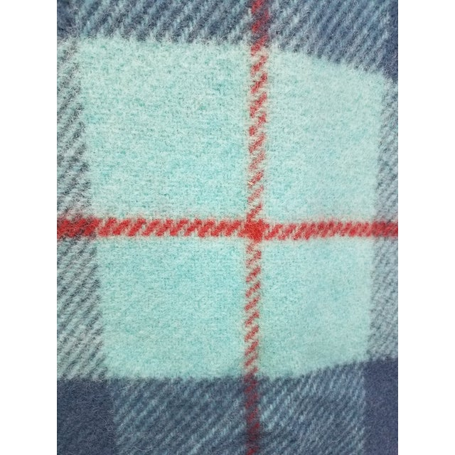 Textile Wool Throw Blue, Aqua and Red in Different Sized Stripes - Made in England For Sale - Image 7 of 11