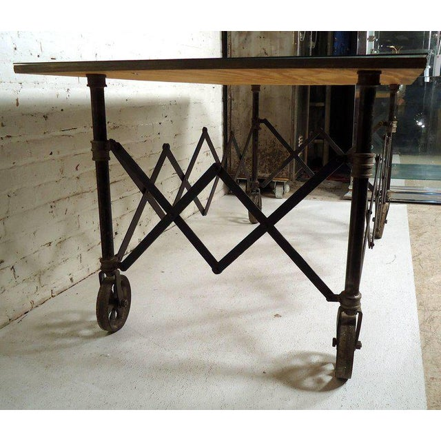 Vintage Industrial Accordion Table For Sale In New York - Image 6 of 11