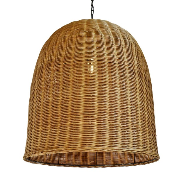 Tea Stain Wicker Dome Lantern For Sale In Los Angeles - Image 6 of 6