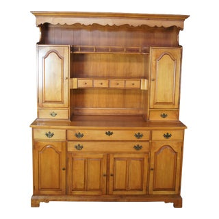 Early American Solid Maple China Hutch Buffet Cabinet For Sale