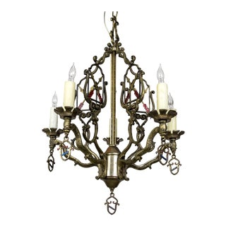 Medieval Revival Coat of Arms and Painted Arrows Chandelier For Sale