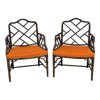Faux Bamboo & Orange Upholstered Armchairs - A Pair