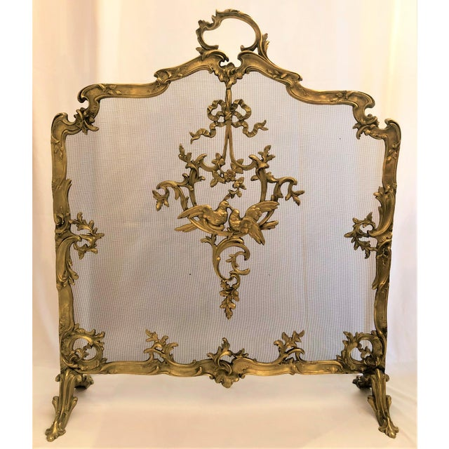 Antique French Late 19th Century Louis XV Bronze Firescreen. For Sale - Image 4 of 4