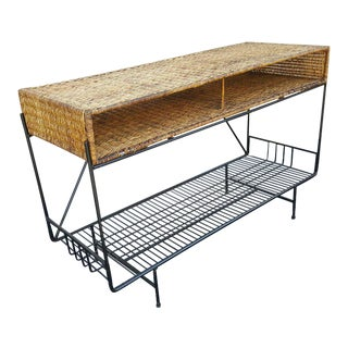 1950s Arthur Umanoff Wicker & Rod Iron Console For Sale