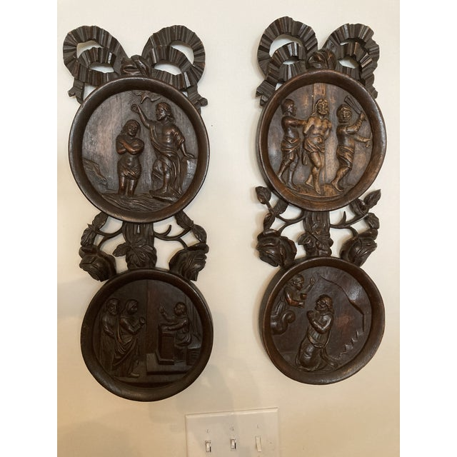 Wood Carved Wooden Wall Plaques - a Pair For Sale - Image 7 of 7