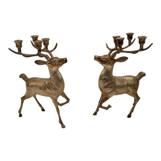 Silver Plated Brass Stag Deer Candleholders -Pair For Sale
