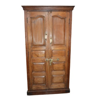 Antique Indian Rustic Teak Wardrobe Cabinet For Sale
