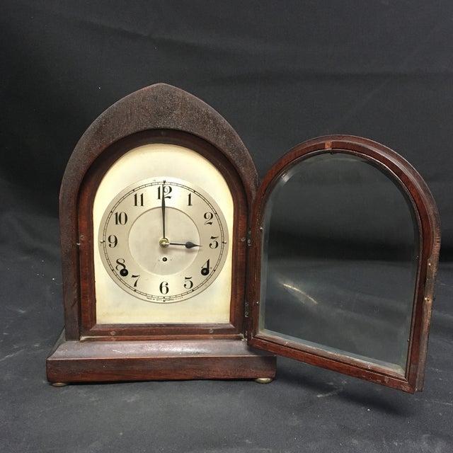 Art Deco Antique 1910s Seth Thomas Clock Company Wooden Clock For Sale - Image 3 of 13