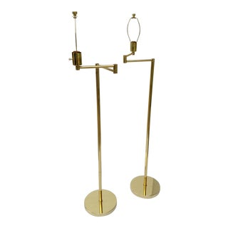 Vintage Paul Hanson Articulating Brass Floor Lamps - A Pair For Sale