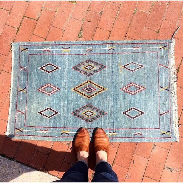 Vintage Moroccan Flat Weave Rug - 2′ × 3′3″ - Image 3 of 4