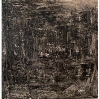 """Scratch That"" Contemporary Abstract Black and White Acrylic Painting by Sarah Trundle For Sale"