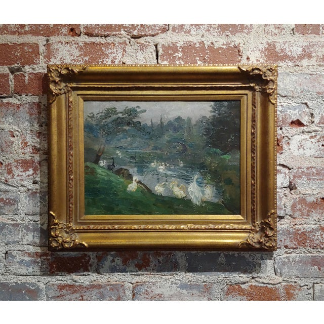 "Antonio Barone ""Duck Pond"" Signed Impressionist Oil Painting C.1910 For Sale - Image 9 of 9"