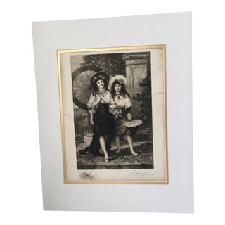 Late 19th Century 1888 Stephen J Ferris Two Ladies Signed Etching For Sale