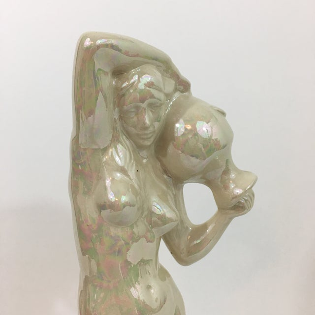 Iridescent Ceramic Water Nymph Statue For Sale - Image 4 of 13