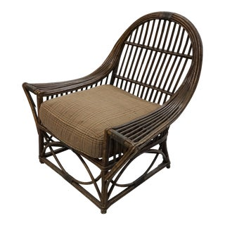 1930s French Art Deco Reeded Rattan Club Chair For Sale