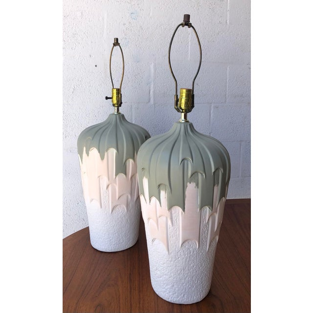 1980s Vintage 1980s Harris Carved Pottery Table Lamps- a Pair For Sale - Image 5 of 11