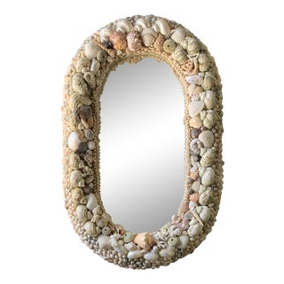 Vintage Shell Encrusted Mirror For Sale