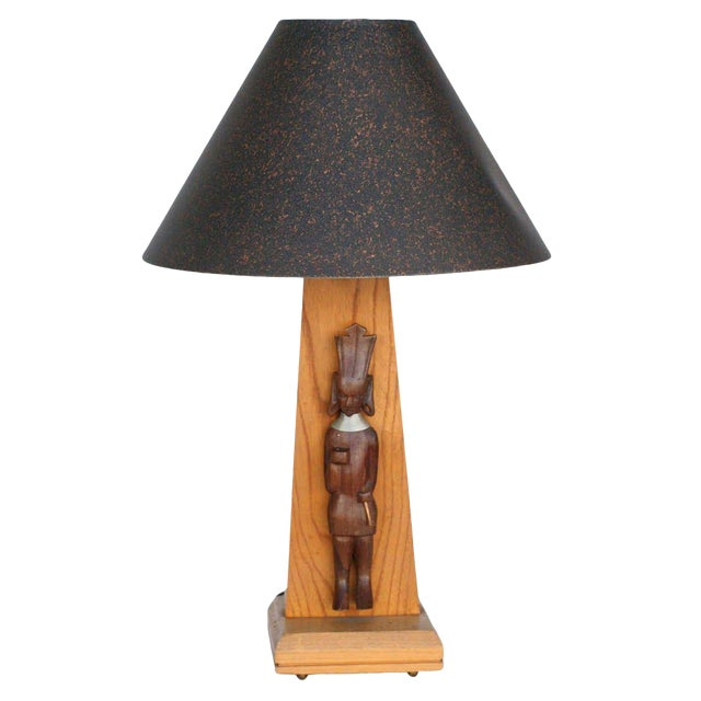 Mid-Century Table Lamp With African Carving Pair For Sale