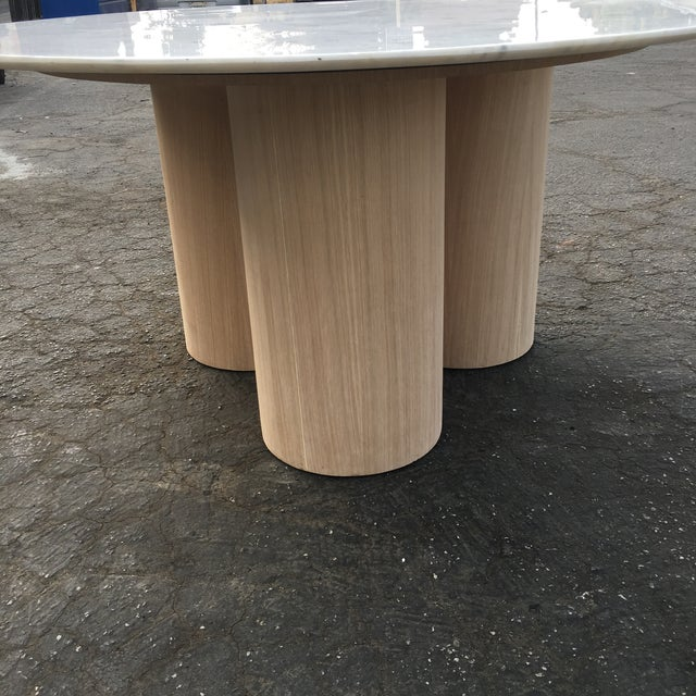 Wood Oversized Pillar Marble Dining Table in White Oak For Sale - Image 7 of 13