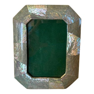 1980s Art Deco Revival Mother of Pearl Lacquered Picture Frame For Sale