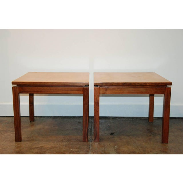 Contemporary 1970s Brazilian Jacaranda Wood Square Side Tables - a Pair For Sale - Image 3 of 8